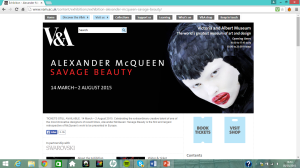 Figure 5- The V&A, 2015, Screenshoot of Savage Beauty page, http://www.vam.ac.uk/content/exhibitions/exhibition-alexander-mcqueen-savage-beauty/